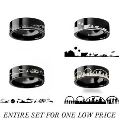 Star Wars Four Ring Set - Hoth, New Hope, Mos Eisley and Tatooine Engraved Flat Polished Black Tungsten Ring - 4mm - 12mm