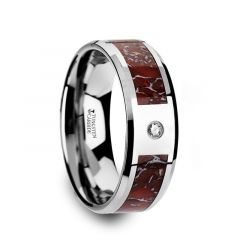 Red Dinosaur Bone Inlaid Tungsten Carbide Diamond Wedding Band with Beveled Edges - 8mm