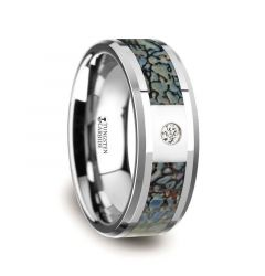 Blue Dinosaur Bone Inlaid Tungsten Carbide Diamond Wedding Band with Beveled Edges - 8mm