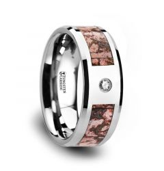 Pink Dinosaur Bone Inlaid Tungsten Carbide Diamond Wedding Band with Beveled Edges - 8mm