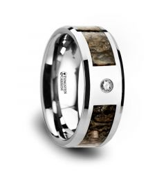 Brown Dinosaur Bone Inlaid Tungsten Carbide Diamond Wedding Band with Beveled Edges - 8mm
