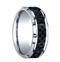 CENTENARUS Beveled Cobalt Chrome Ring with Black Carbon Fiber Inlay by Benchmark - 8mm
