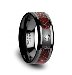 Red Dinosaur Bone Inlaid Black Ceramic Diamond Wedding Band with Beveled Edges - 8mm