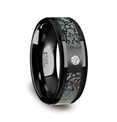 Blue Dinosaur Bone Inlaid Black Ceramic Diamond Wedding Band with Beveled Edges - 8mm
