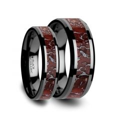 Matching Ring Set Red Dinosaur Bone Inlaid Black Ceramic Beveled Edged Ring - 4mm & 8mm