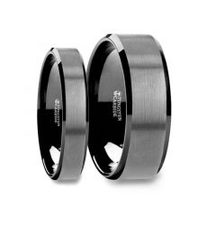 Matching Ring Set Black Tungsten Ring with Polished Beveled Edges and Brush Finished Center - 4mm & 8mm