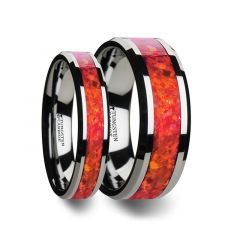 Matching Ring Set  Tungsten Wedding Band with Beveled Edges and Red Opal Inlay - 4mm & 8 mm
