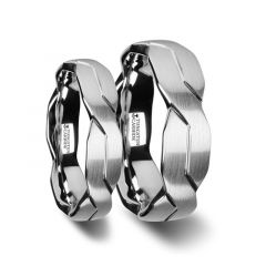 FOREVER Matching Ring Set White Tungsten Ring with Brushed Carved Infinity Symbol Design - 6mm - 10mm