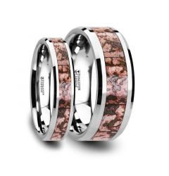 Matching Ring Set Pink Dinosaur Bone Inlaid Tungsten Carbide Beveled Edged Ring - 4mm & 8mm
