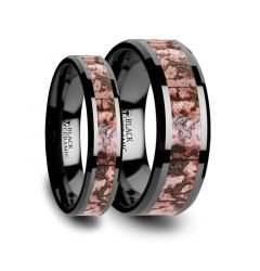 Matching Ring Set Pink Dinosaur Bone Inlaid Black Ceramic Beveled Edged Ring - 4mm & 8mm