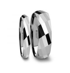 Matching Ring Set Multi Faceted Tungsten Carbide Band - 4mm - 8mm