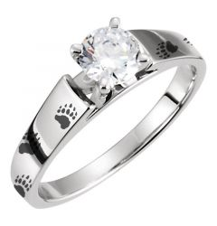 Bear Track Engraved Engagement Ring Animal Print Track Solitaire Outdoors Woman