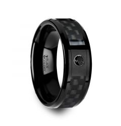 ABERDEEN Black Ceramic Ring with Black Diamond Wedding Band and Black Carbon Fiber Inlay - 8mm