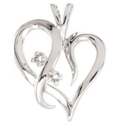 14k White Accented Heart PendantMounting