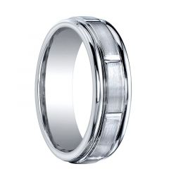 PROTECTOR Raised Grooved Center Cobalt Chrome Ring by Benchmark - 7mm