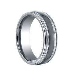 OPUS Domed Grooved Tungsten Ring with Black Ceramic Inlay by Benchmark - 7mm