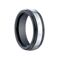 OBSIDIUS Domed Grooved Ceramic Ring with Tungsten Inlay by Benchmark - 7mm