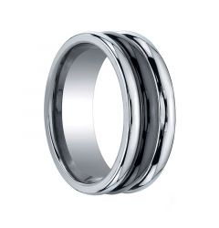 LIBERTUS Ribbed Tungsten Carbide Ring with Black Ceramic Inlay by Benchmark - 8mm