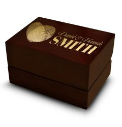 Double Fingerprint Heart Design Ring Box Wedding Rings Holder Brown Wood Personalized Two Rings
