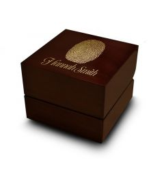 Fingerprint Engraved Wood Ring Box Chocolate Dark Wood Personalized Wooden Wedding Ring Box