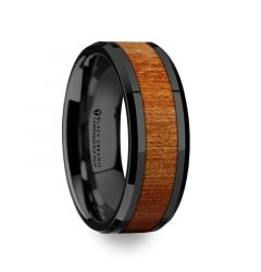 THRACIAN Carpathian Wood Inlaid Black Ceramic Ring with Bevels - 6mm & 8mm