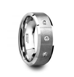 SAMUEL Satin Finish Tungsten Carbide Wedding Ring with 3 White Diamond Setting and Beveled Edges- 8mm