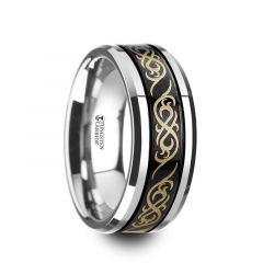 RAIZEN Black Tungsten Carbide Wedding Ring with Dual Offset Grooves and Laser Engraved Celtic Pattern Polished and Beveled Edges - 9mm