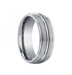 DOLATOR Domed Triple Grooved Titanium Wedding Band by Benchmark - 8mm