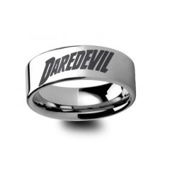 Daredevil The Man Without Fear Superhero Symbol Engraved Tungsten Ring