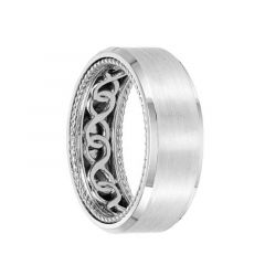 14k White Gold Wedding Band Rope Infinity Inner Design Beveled Brushed Finish by Artcarved - 8mm
