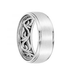 14k White Gold Wedding Band Vine Pattern Milgrain Edge Inner Design Brushed Finish Round Edges by Artcarved - 8 mm
