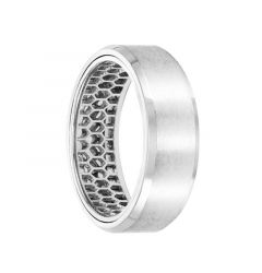 14k White Gold Wedding Band Mesh Pattern Inner Design Flat Brushed Finish Beveled Edges by Artcarved - 7 mm