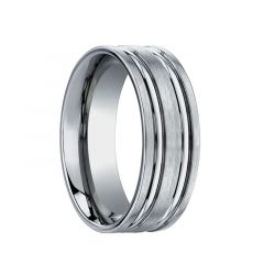 BALTEUS Flat Dual Offset Grooves Titanium Ring by Benchmark - 8mm