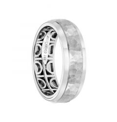 14k White Gold Wedding Band Inner Geometric Pattern Hammer Finish Round Edges by Artcarved - 7 mm
