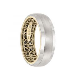 14k Two Toned White & Yellow Gold Wedding Band Gaelic Pattern Inner Design Brushed Finish Beveled Edges by Artcarved - 7 mm