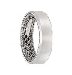 14k White Gold Wedding Band Rope Net Inner Design Flat Satin Finish Beveled Edges by Artcarved - 6mm