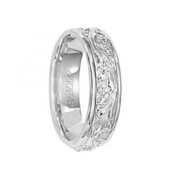 SUCCESS 14k White Gold Wedding Band Intricate Scroll Center Rolled Edges by Artcarved - 6 mm