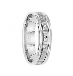 CLASS ACT 14k White Gold Wedding Band with Geometric Brushed Finish Center Rolled Edges by Artcarved - 5.5 mm