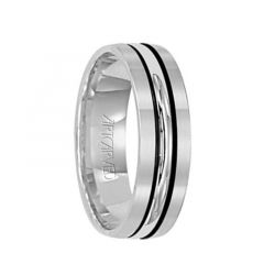 CASTLE 14k White Gold Wedding Band with Modern Black Linear Center Brushed Finish Rolled Edges by Artcarved - 6 mm