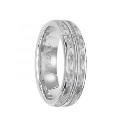 ABINGTON 14k White Gold Wedding Flat Band with Hammered Milgrain Finish Center by Artcarved - 6 mm