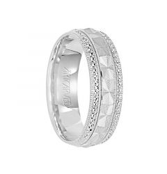 BELOVED 14k White Gold Wedding Band Textured Laser Center Pattern with Diamond Cut Edges by Artcarved - 6mm