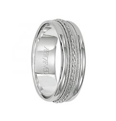 OPULENCE 14k White Gold Wedding Band Engraved Milgrain Center Design with Rolled Edges by Artcarved - 7mm