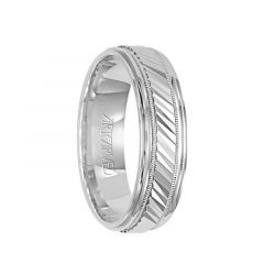 MONTEREY 14k White Gold Wedding Band Diagonal Engraved Center Design with Milgrain Rolled Edges by Artcarved - 6 mm