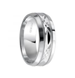 FONDEST 14k White Gold Wedding Band Swiss Cut Center Design Milgrain Rolled Edges by Artcarved - 4.5 mm, 6mm & 8mm