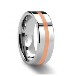 CERBERUS Rose Gold Inlaid Flat Tungsten Ring - 6mm & 8mm