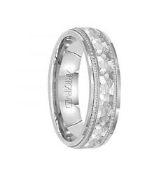 WAVE CREST 14k White Gold Wedding Band Flat Hammered Finish with Milgrain Pattern Edges by Artcarved - 5mm & 6mm