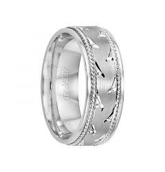 WAVES 14k White Gold Wedding Band Engraved Center Design Brushed Finish with Rope Detail Rolled Edges by Artcarved - 7 mm