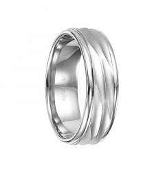 14k White Gold Wedding Band Engraved Center Brushed Finish with Rolled Edges by ArtCarved - 7 mm