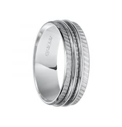 LUCAS 14k White Gold Wedding Band Flat Diagonal Pattern with Dual Center Ridges Design Brushed Finish by ArtCarved - 7 mm