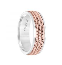 14k Two Toned White Gold with Rose Gold Center Wedding Band Domed Polished Finish Triple Rope Inlay Design Flat Edges by ArtCarved- 7 mm